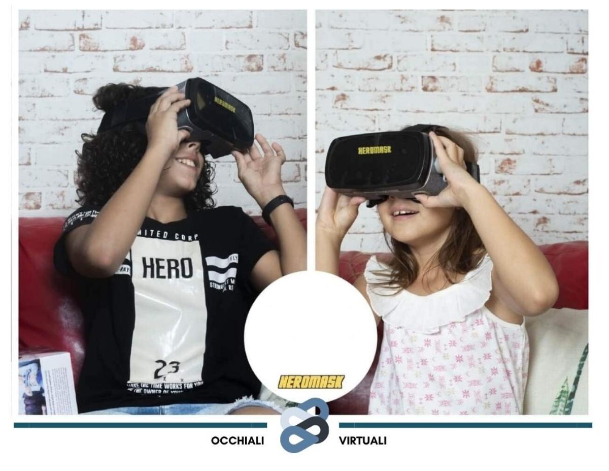 bambini che utilizzano un visore adatto alla loro età ovvero il modello Heromask Visore VR